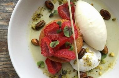 Pistachio Panna Cotta- Cardamom Ice Cream, Pistachio Praline Crunch, Buttermilk Pound Cake, Raspberries-Web Res